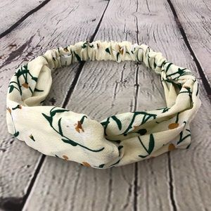 Pastel Yellow Floral Knotted Boho Headband